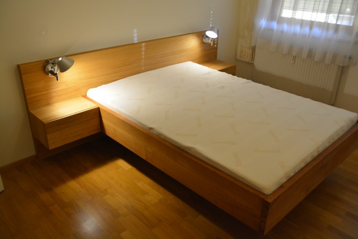 schlafzimmer | bett eiche massiv geölt mit auro öl | schrank in winterweiss