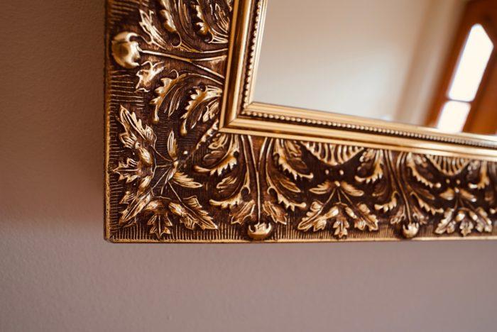 garderobe | schwarz matt mit eiche tabak | spiegel mit barock rahmen