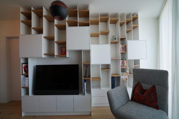 wohnzimmer | schleiflack 9016 | eiche natur geölt